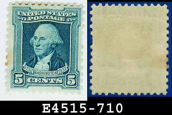 1932 USA UNUSED Scott# 710 � 5c Blue Washington - 1932 Washington Bicentennial Issue