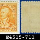 1932 USA UNUSED Scott# 711 – 6c Red Orange Washington - 1932 Washington Bicentennial Issue