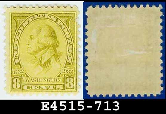 1932 USA UNUSED Scott# 713 � 8c Olive Bistre Washington - 1932 Washington Bicentennial Issue