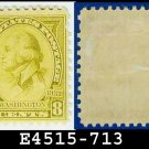 1932 USA UNUSED Scott# 713 – 8c Olive Bistre Washington - 1932 Washington Bicentennial Issue