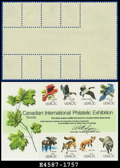 1978 USA MNH UNUSED Sc# 1757  13c CAPEX Wildlife Sheet � Canadian International Exhibition
