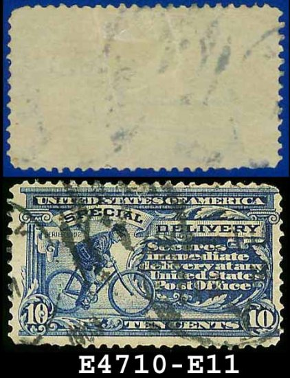 1917 USA USED E11 � 10c Ultramarine Messenger on Bicycle - Special Delivery Issue