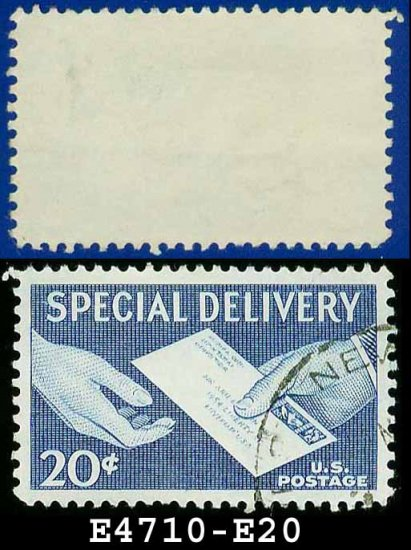 1954 USA USED E20 � 20c Blue Letter Hand to Hand - Special Delivery Issue