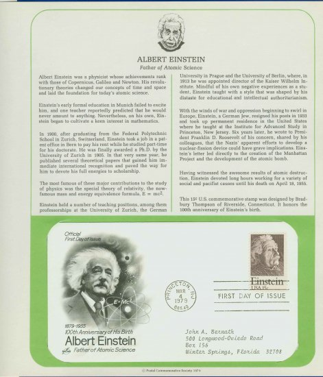 1979 USA FDC Sc# 1774 � 100 Anniversary Albert Einstein�s Birth on Cachet Addressed Cover E4859P