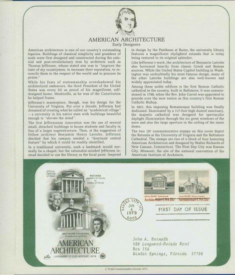 1979 USA FDC Scott# 1779-80 � Jun 4, 1979 American Architecture on Cachet Addressed Cover E4859P
