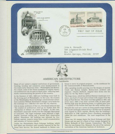 1979 USA FDC Scott# 1781-82 � Jun 4, 1979 American Architecture on Cachet Addressed Cover E4859P
