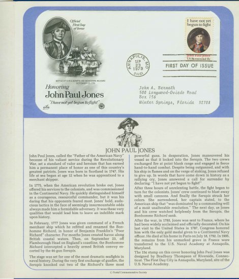 1979 USA FDC Sc# 1789 � Sep 23 � Honoring John Paul Jones on Cachet Addressed Cover E4859P