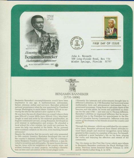 1980 USA FDC Scott# 1804 � Feb 15 � Honoring Benjamin Banneker on Cachet Addressed Cover E4859P