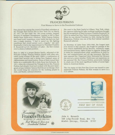 1980 USA FDC Scott# 1821 � Apr 10 � Honoring Frances Perkins on Cachet Addressed Cover E4859P