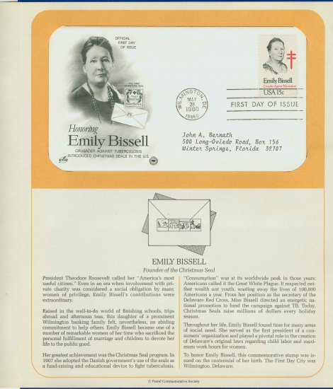 1980 USA FDC Scott# 1823 � Mar 31 � Honoring Emily Bissell on Cachet Addressed Cover E4859P