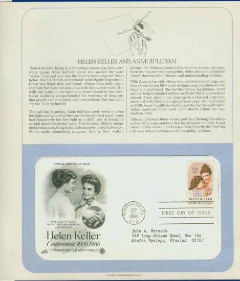 1980 USA FDC Sc# 1824 � Jun 27 � Helen Keller & Anne Sullivan on Cachet Addressed Cover E4859P