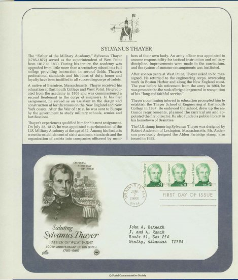 1985 USA FDC Scott# 1852 � Jun 7 � Sylvanus Thayer 3 Stamps on Cachet Addressed Cover E4859P