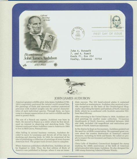 1985 USA FDC Scott# 1863 � Apr 23 � John James Audubon on Cachet Addressed Cover E4859P