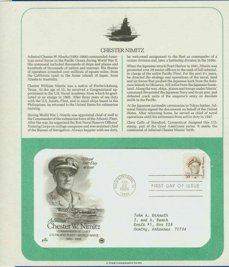 1985 USA FDC Scott# 1869 � Feb 22 � Admiral Chester W Nimitz on Cachet Addressed Cover E4859P