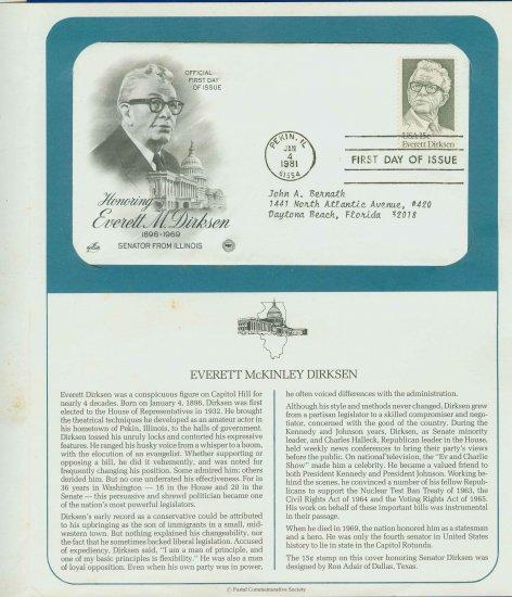 1981 USA FDC Scott# 1874 � Jan 4 � Honoring Everett M Dirksen on Cachet Addressed Cover E4859P