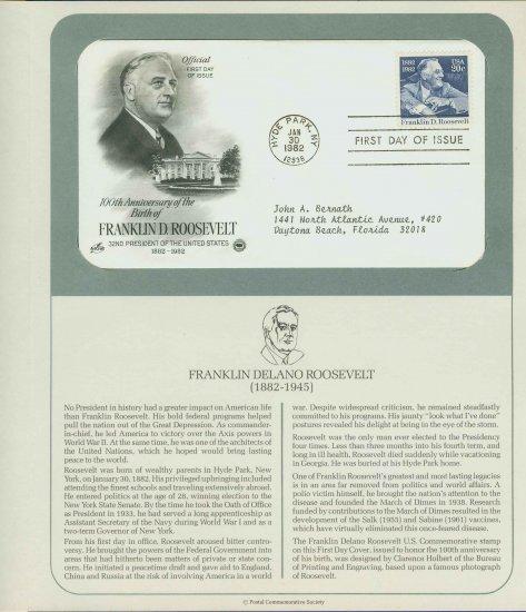 1982 USA FDC Scott# 1950 � Jan 30 � Franklin D Roosevelt on Cachet Addressed Cover E4859P