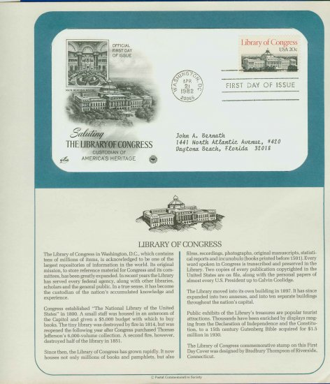 1982 USA FDC Scott# 2004 � Apr 21 � The Library of Congress on Cachet Addressed Cover E4859P