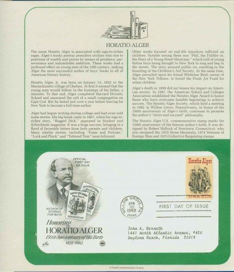1982 USA FDC Scott# 2010 � Apr 30 � Honoring Horatio Alger on Cachet Addressed Cover E4859P