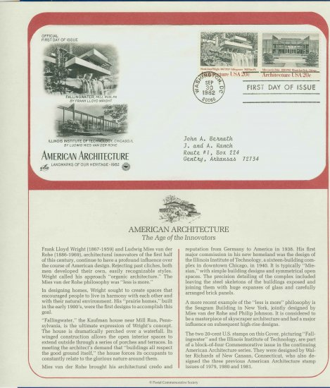 1982 USA FDC Scott# 2019-20 � Sep 30 � American Architecture on Cachet Addressed Cover E4859P