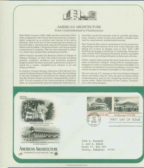 1982 USA FDC Scott# 2021-22 � Sep 30 � American Architecture on Cachet Addressed Cover E4859P