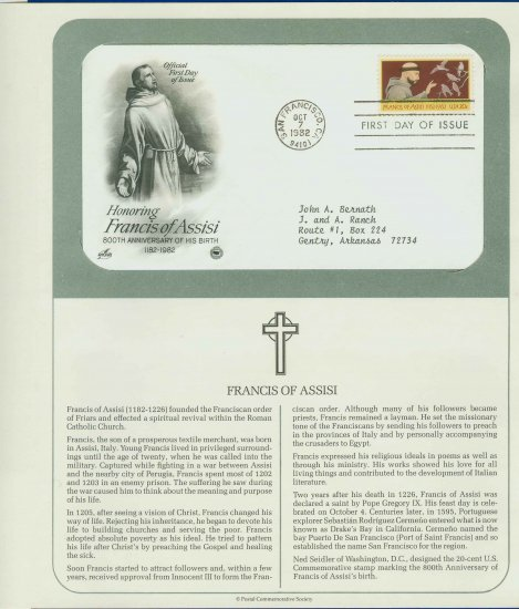 1982 USA FDC Scott# 2023 � Oct 7 � Honoring Francis of Assisi on Cachet Addressed Cover E4859P