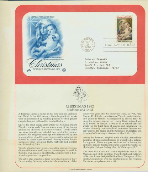 1982 USA FDC Scott# 2026 � Oct 28 � Christmas Madonna on Cachet Addressed Cover E4859P