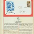 1982 USA FDC Scott# 2026 – Oct 28 – Christmas Madonna on Cachet Addressed Cover E4859P