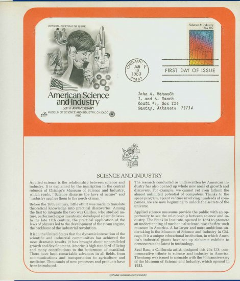 1983 USA FDC Sc# 2031 � Jan 19 � American Science & Industry on Cachet Addressed Cover E4859P