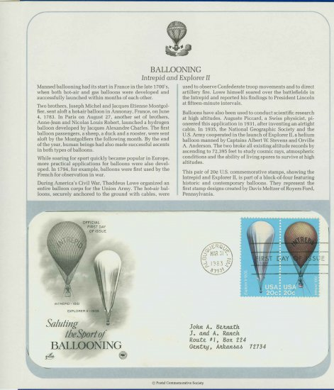 1983 USA FDC Scott# 2032,5 � Mar 31 � The Sport of Ballooning on Cachet Addressed Cover E4859P