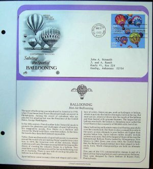1983 USA FDC Scott# 2033-4 � Mar 31 � The Sport of Ballooning on Cachet Addressed Cover E4859P