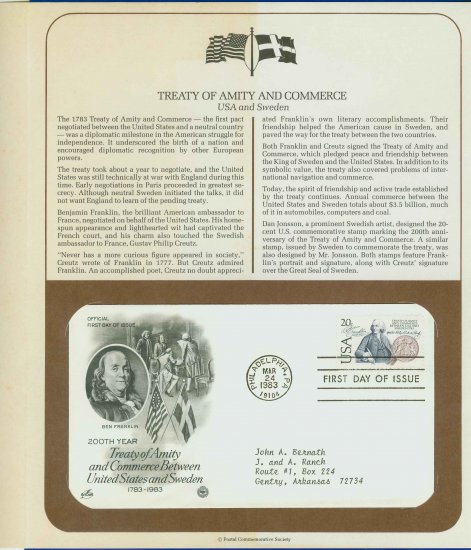 1983 USA FDC Scott# 2036 � Mar 24 � Treaty Between USA & Sweden on Cachet Addressed Cover E4859P