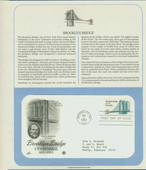 1983 USA FDC Scott# 2041 � May 17 � Brooklyn Bridge Centennial on Cachet Addressed Cover E4859P