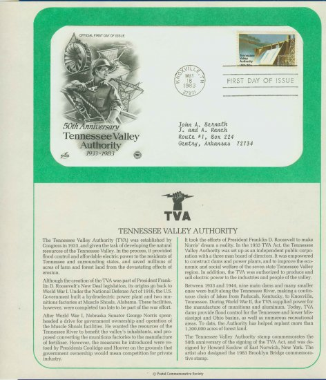 1983 USA FDC Scott# 2042 � May 18 � Tennessee Valley Authority on Cachet Addressed Cover E4859P