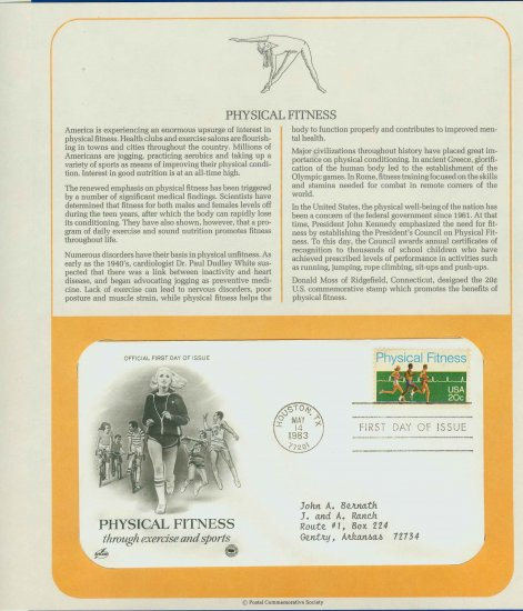 1983 USA FDC Scott# 2043 � May 14 � Physical Fitness on Cachet Addressed Cover E4859P