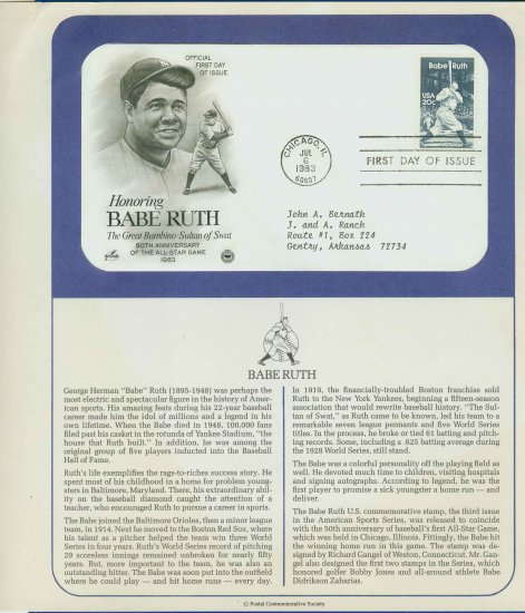 1983 USA FDC Scott# 2046 � Jul 6 � Honoring Babe Ruth on Cachet Addressed Cover E4859P