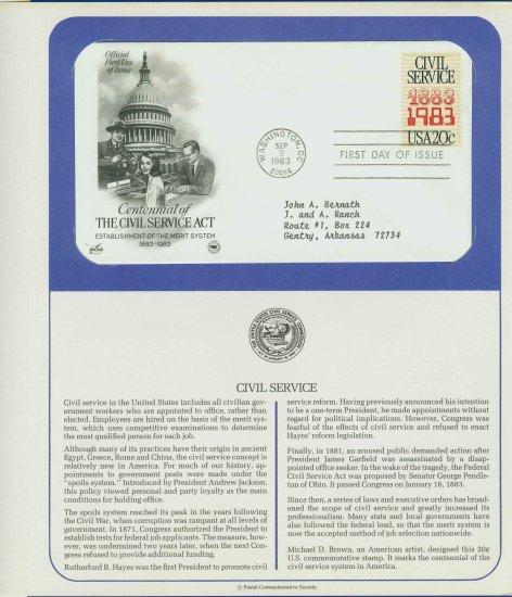 1983 USA FDC Scott# 2053 � Sep 9 � Civil Service Act Centennial on Cachet Addressed Cover E4859P