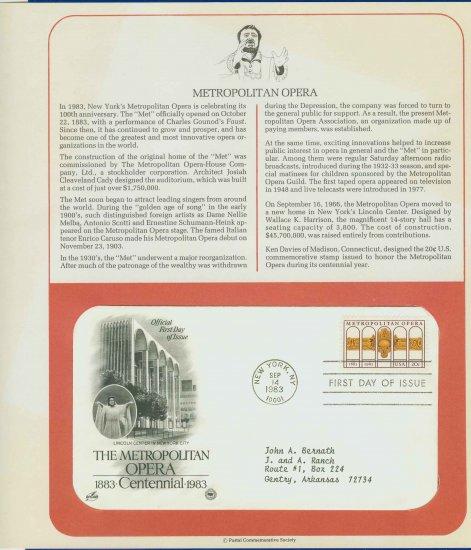 1983 USA FDC Sc# 2054 � Sep 14 � Metropolitan Opera Centennial on Cachet Addressed Cover E4859P