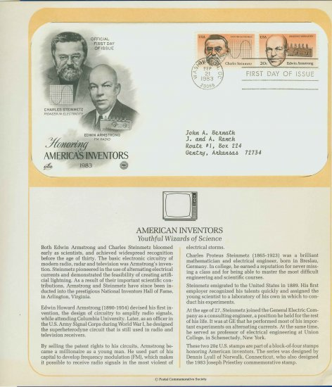 1983 USA FDC Sc# 2055-6 � Sep 21 � Honoring Americas Inventors on Cachet Addressed Cover E4859P