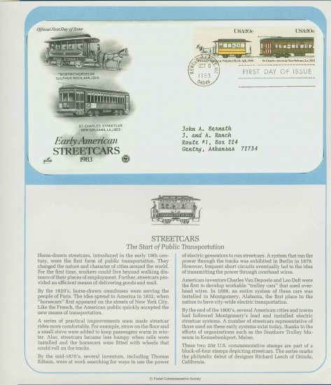 1983 USA FDC Scott# 2061-62 � Oct 8 � Early American Streetcars on Cachet Addressed Cover E4859P
