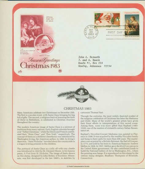 1983 USA FDC Scott# 2063-64 � Oct 28 � Christmas 2 Stamps on Cachet Addressed Cover E4859P