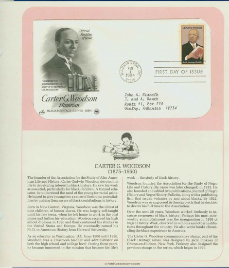 1984 USA FDC Sc# 2073 � Feb 1 � Carter G Woodson on Cachet Addressed Cover E4859P
