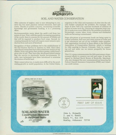 1984 USA FDC Sc# 2074 � Feb 6 � Soil and Water Conservation on Cachet Addressed Cover E4859P