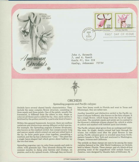 1984 USA FDC Scott# 2078-79 � Mar 5 � American Orchids on Cachet Addressed Cover E4859P