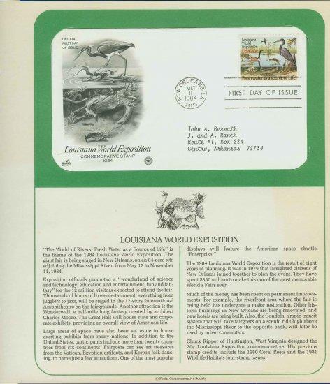 1984 USA FDC Scott# 2086 � May 11 � Louisiana World Exposition on Cachet Addressed Cover E4859P