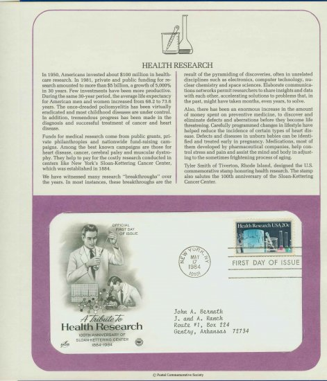 1984 USA FDC Scott# 2087 � May 17 � Tribute to Health Research on Cachet Addressed Cover E4859P