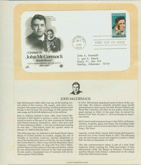 1984 USA FDC Scott# 2090 � Jun 6 � Tribute to John McCormack on Cachet Addressed Cover E4859P