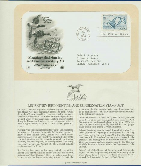1984 USA FDC Sc# 2092 � Jul 2 � Migratory Bird Hunting Stamp on Cachet Addressed Cover E4859P
