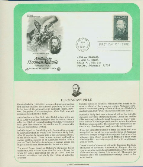 1984 USA FDC Scott# 2094 � Aug 1 � Tribute to Herman Melville on Cachet Addressed Cover E4859P