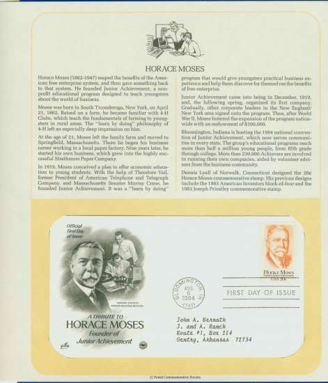 1984 USA FDC Scott# 2095 � Aug 6 � Tribute to Horace Moses on Cachet Addressed Cover E4859P