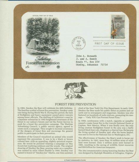 1984 USA FDC Sc# 2096 � Aug 13 Forest Fire Prevention, Smokey Bear Cachet Addressed Cover E4859P